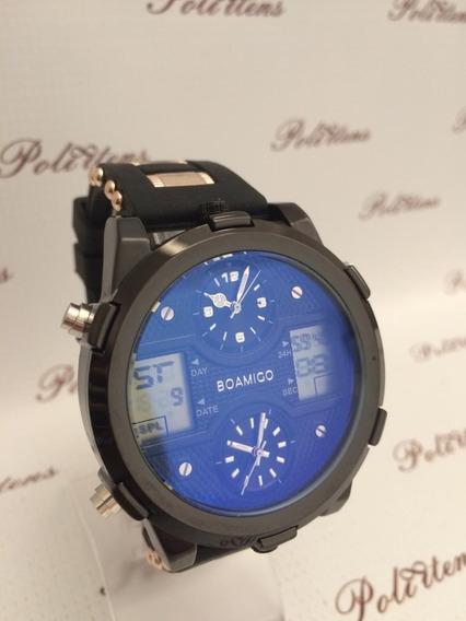 Relógio Masculino De Pulso Boamigo Pulseira Silicone C4061