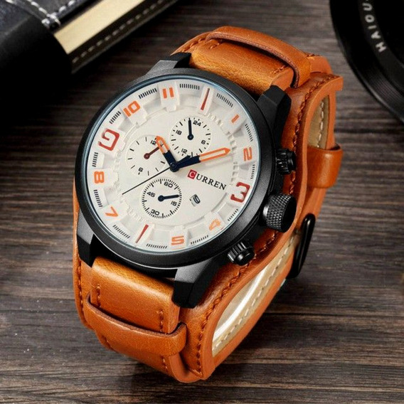 Relógio Masculino Original Couro Legítimo Luxo Social Curren