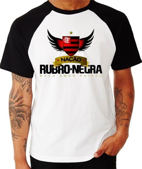 Camisa Nação Rubro Negra Camiseta Flamengo Blusa Raglan Fla