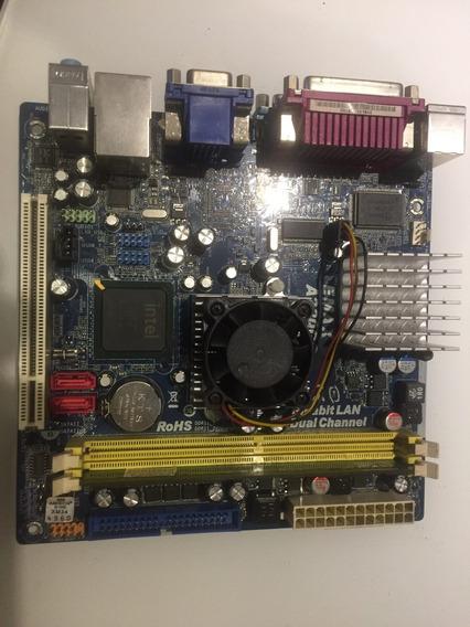 Placa Mãe Emax A230gc Ddr2 Intel Aton Com 1gb De Memória