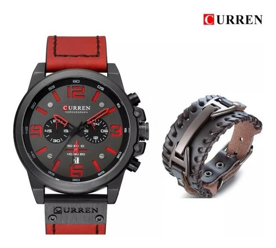 Relógio Curren 8314 Masculino Red Grátis Pulseira Couro Luxo