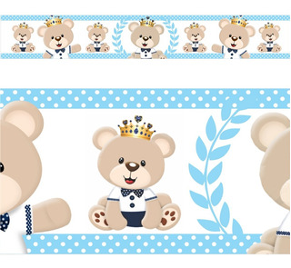 05 Faixa Border Adesivo Parede Urso Ursinho Principe Rei
