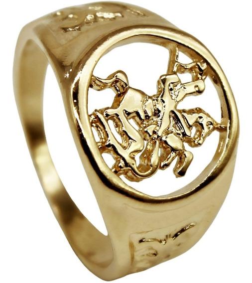 Anel Masculino Luxo São Jorge Banhado Ouro 18 K