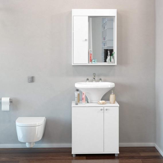 Conjunto Para Banheiro Pequeno Com Armário Espelheira Gcwt