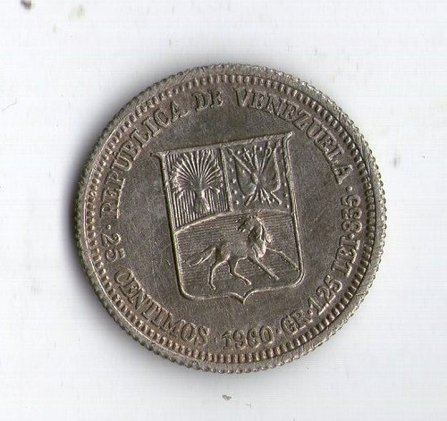 Venezuela Moneda De Plata 25 Centimos 1960 - Argentvs