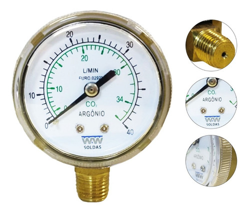 Manômetro Para Regulador De Argônio E Co2 0-40 L/min