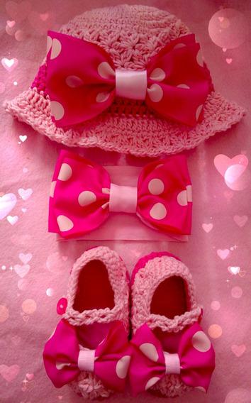 Zapatos Tejidos Con Gorra Y Tiara Para Bebé Moño Lunares
