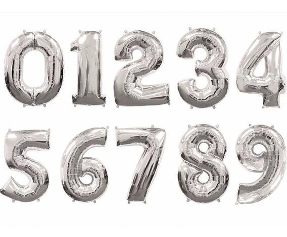 Globos Numeros Metalizados 70cm Plateado No Requiere Helio