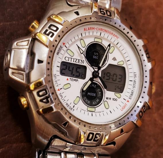 Relógio Citizen C710 Temperatura Aço Ouro Combo New Wingman