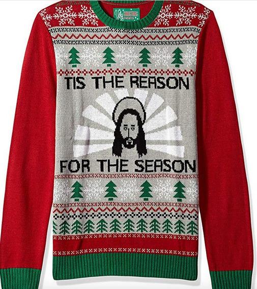 Ugly Christmas Sweater Hombre Jesus Reason Season Grande