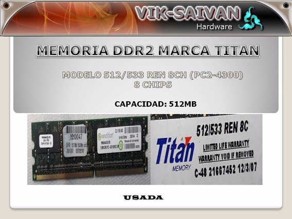 Memoria Ddr2 Titan 512mb Pc2-4300 533mhz 8 Chips 11