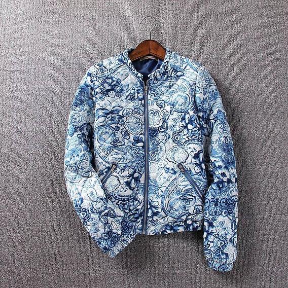 Jaqueta Bomber Feminina Forrada Inverno Frio Estampa Azulejo