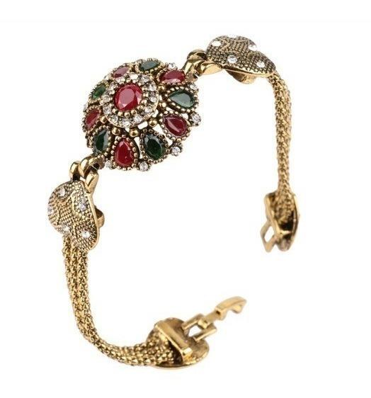 Pulseira Turca Coração Banhada A Ouro Antigo Bracelete