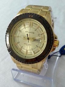 Relógio Dourado Masculino Atlantis Original G-3392.