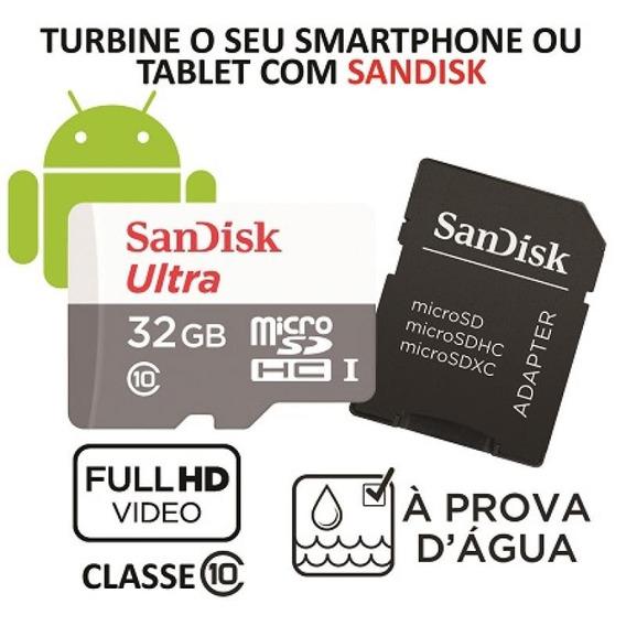 Cartão De Memória Micro Sd Sandisk Ultra 32gb C/adaptador