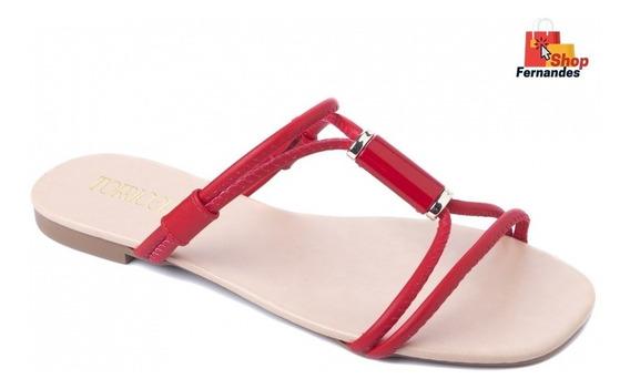 Sandalia Chinelo Rasteirinha Com Tiras Vermelha - Torricella