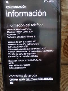 Nokia Lumia 820 Liberado Sin Cargador (50$)