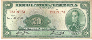 Billete De 20bs, Junio 18, 1959, Serie T7
