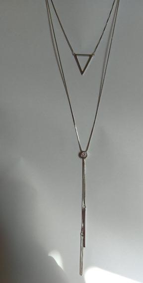 Colar Comprido Prata 925 Com Pingente Zircônias Brilhante