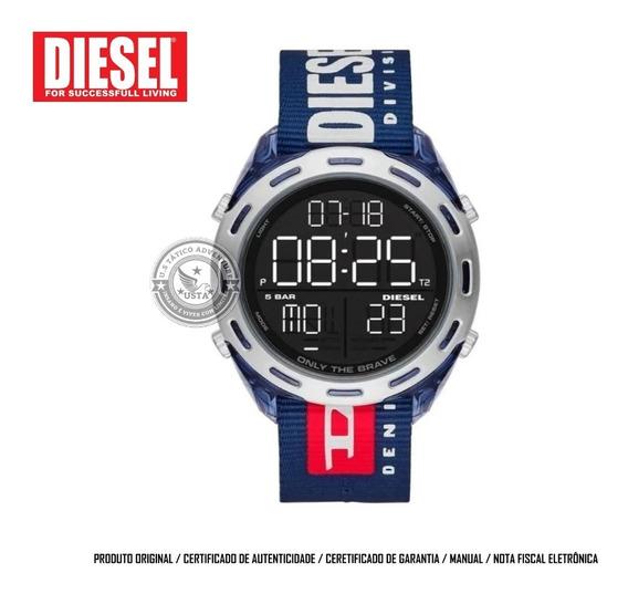 Relógio Diesel Crusher Division Masculino Azul Dz19 Original
