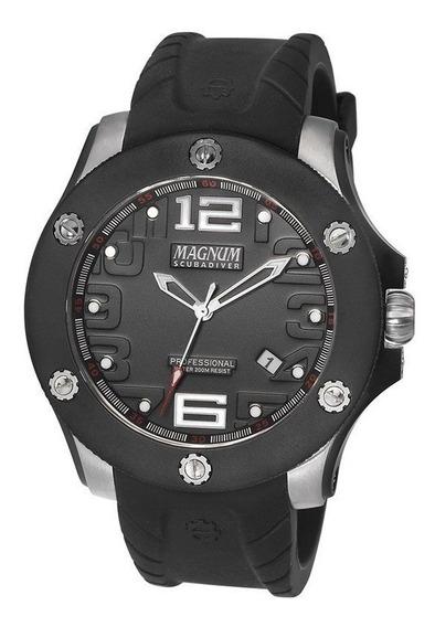 Relógio Magnum Masculino Scuba Borracha Preto Ma30865t
