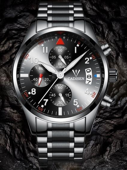Relógio Cadisen Masculino Cronógrafo Casual Aço Inoxidável