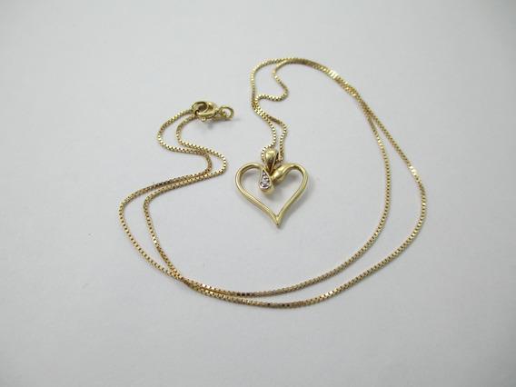Delicado Colar Com Pingente Coração - Ouro 750 - 2.56gr