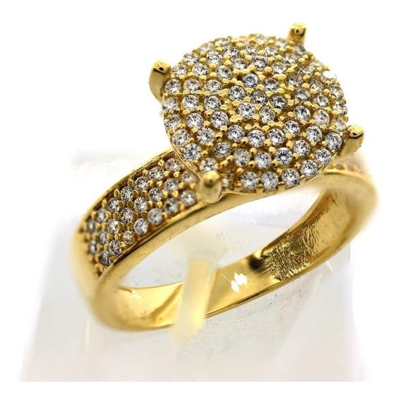 Anel Chuveiro Redondo Cravejado C/ Pedras Em Ouro 18k J22801