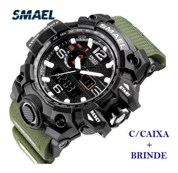 Relógio Esportivo G.chock Smael 1545 Verde Militar Prov.agua