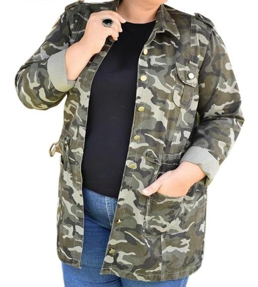 Parka Plus Size Camuflada Feminina Tendência Bolso Frontal