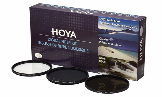 Kit De Filtros Hoya 77mm (polarizador, Uv E Nd8) + Case