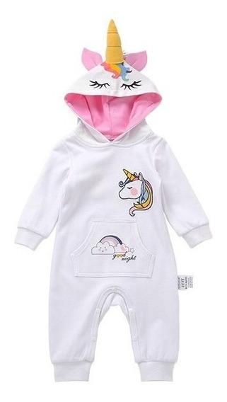 Mameluco Pijama Bebé Unicornio Blanco Con Alas