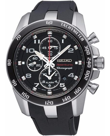 Reloj Seiko Sportura Análogo Cronógrafo Caucho Negro Snae87