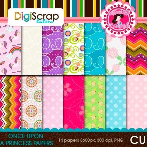 Kit Imprimible Pack Fondos Princesas Clipart Cod 3