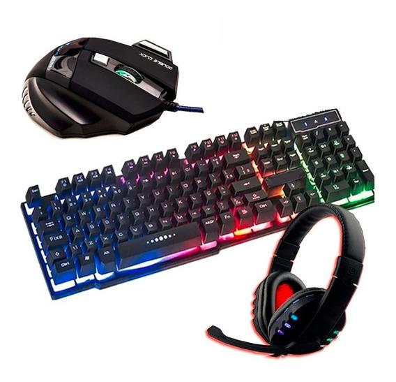 Fone De Ouvido Gamer + Teclado Led + Mouse Gamer Pc Original