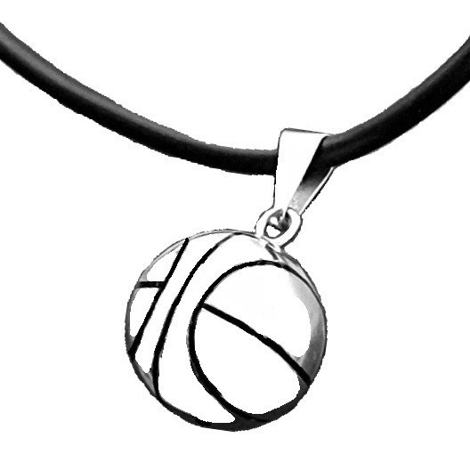 Collar Caucho + Dije De Balón De Basquetbol Baloncesto Plata