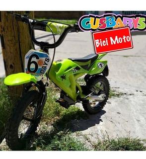 Bicicleta Rodado 16 Tipo Moto De Acero Con Carroceria Niños