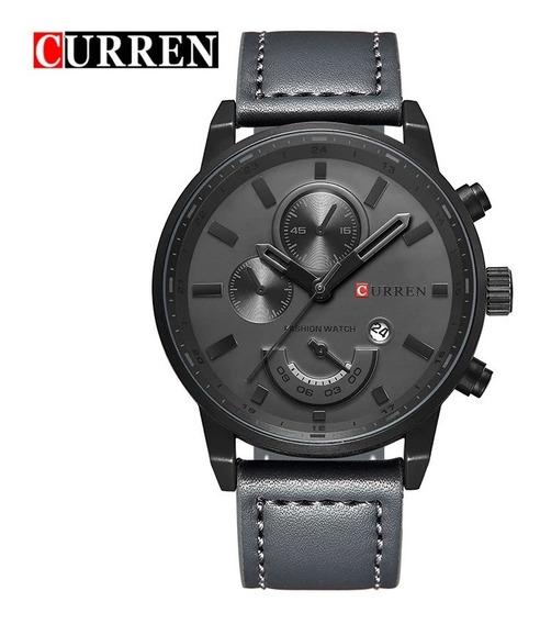 Relógio Masculino Preto Curren Pulseira De Couro Promoção