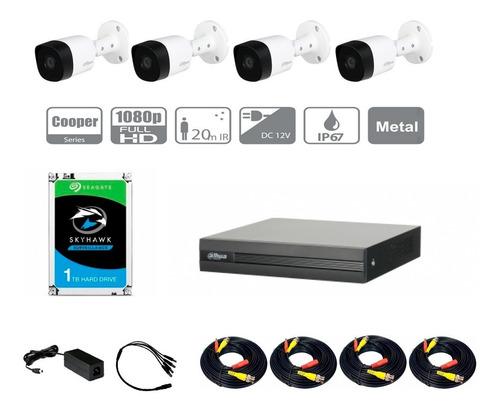 Imagen 1 de 6 de Kit Hdcvi 1080p Dvr 4ch 4mp Lite 4 Cámaras 1080p Disco 1tb