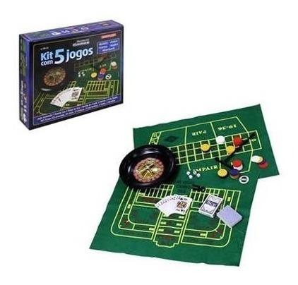 Kit De Jogos Com Poker Cassino Roleta Cartas Dados Blackjack