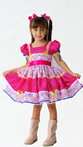 Vestido De Festa Junina Infantil+ Laço De Cabelo