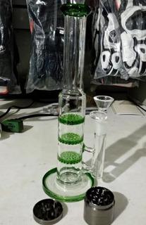 Ice - Bong Vidrio, Cristal Triple Percolador Honeycomb, 26cm