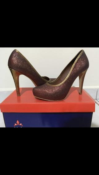 Sapato Marrom Com Glitter - Celia Milani