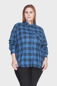 Camisa Xadrez 100% Algodão Plus Size Marinho-50