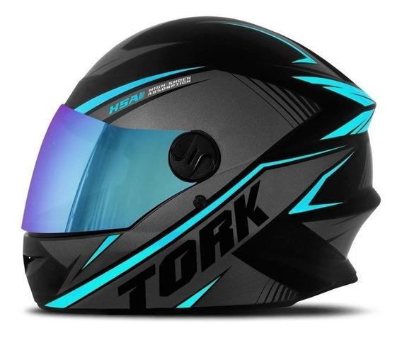 Capacete R8 Preto Azul Claro Com Viseira Camaleão Pro Tork