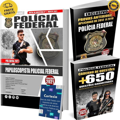 Kit Apostila Polícia Federal Papiloscopista + Testes Grátis