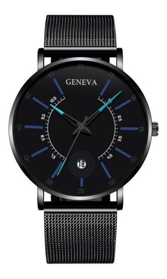 Reloj Geneva Con Fechador Y Malla Metálica Nuevo Elegante