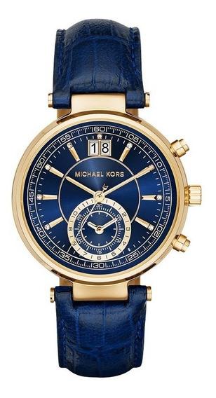 Relógio Michael Kors Feminino Sawyer Azul Mk2425/2an