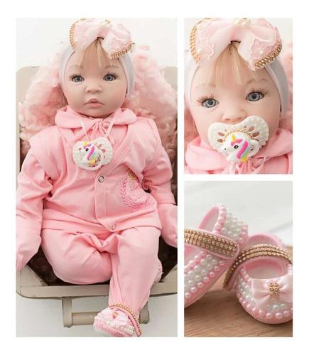 Tipo Boneca Bebê Baby Real Reborn Realista 16 Itens+ Brinde