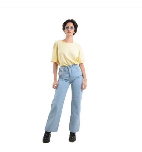Mom Jeans Mujer Pantalon Vintage Ancho Tiro Alto Rígido Wide